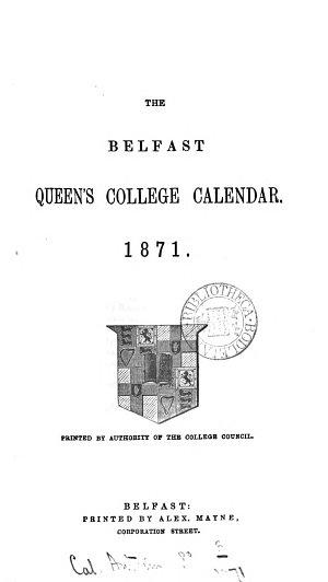 The Belfast Queen s College Calendar
