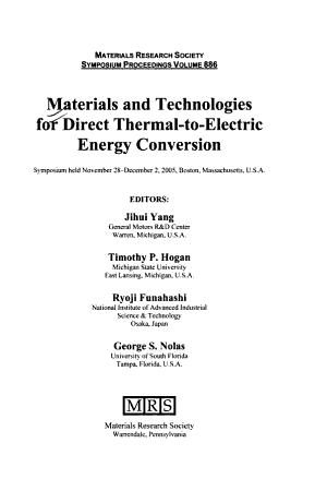 Materials and Technologies for Direct Thermal to electric Energy Conversion PDF
