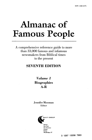 Almanac of Famous People: Biographies