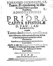 Adnotationes ad priora capita epistolae D. Pauli ad Romanos