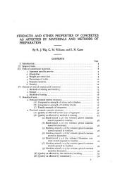 Strength and other properties of concretes as affected by materials and methods of preparation