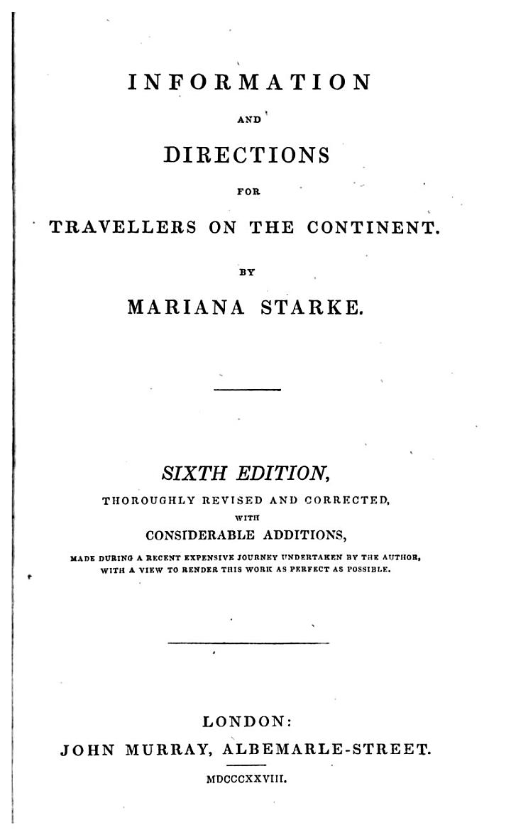 Information and Directions for Travellers on the Continent