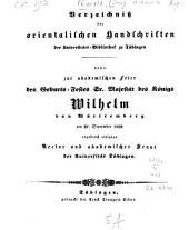 Verzeichniss der orientalischen Handschriften des Universitäts-Bibliothek zu Tübingen