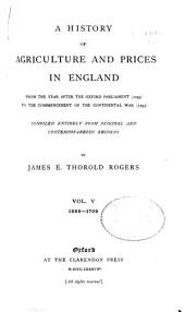 A History of Agriculture and Prices in England: 1583-1702