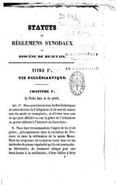 Statuts et Réglements Synodaux du Diocèse de Beauvais
