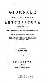 Giornale dell'Italiana letteratura: Volume 21