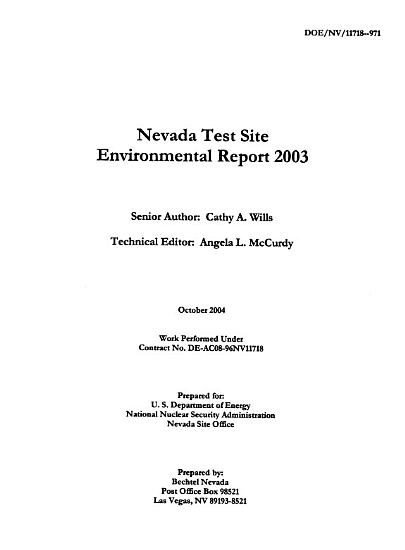 Nevada Test Site Annual Site Environmental Report for Calendar Year     PDF