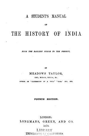 A Student s Manual of the History of India