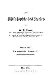 Die philosophie des rechts und des staates: th. Die rechtsphilosophie oder, Das naturrecht, auf philosophischanthropologischer grundlage