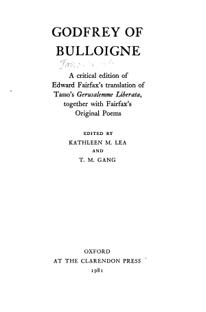 Godfrey of Bulloigne PDF