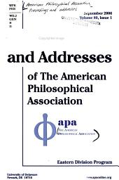 Proceedings and Addresses of the American Philosophical Association PDF