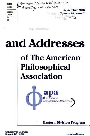 Proceedings and Addresses of the American Philosophical Association