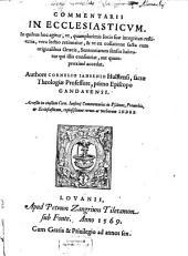 Commentarii in Ecclesiasticum