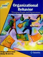 Organizational Behavior Managing People And Organizations  2009 Ed PDF
