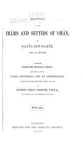 History of the Imâms and Seyyids of 'Omân: Volume 44