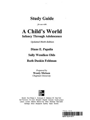 Study Guide for Use with a Child s World PDF