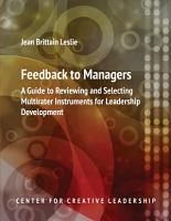 Feedback to Managers  A Guide to Reviewing and Selecting Multirater Instruments for Leadership Development 4th Edition PDF