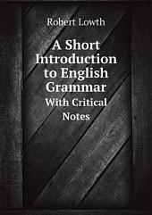 A Short Introduction to English Grammar
