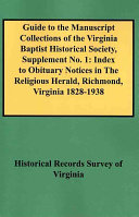 Guide to the Manuscript Collections of the Virginia Baptist Historical Society, Supplement No 1