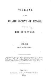Journal of the Asiatic Society of Bengal: Volume 20