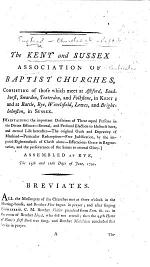 """The Kent and Sussex Association of Baptist Churches ... Assembled at Rye the 15th and 16th Days of June, 1791. (Breviates.-The Circular Letter. [On """"adoption."""" By John Lloyd.])."""