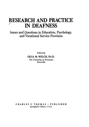 Research and Practice in Deafness