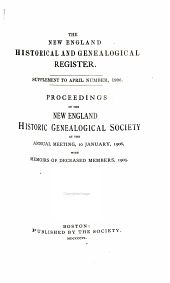 Proceedings of the New England Historic Genealogical Society ...