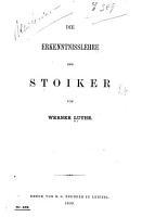 Die Erkenntnisslehre der Stoiker PDF