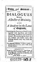 Doctor and Student   Or Dialogues Between a Doctor of Divinity  and a Student in the Laws of England     PDF