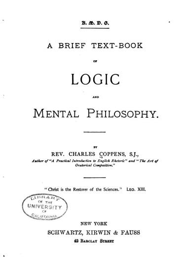 A Brief Text book of Logic and Mental Philosophy PDF