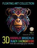 Animaux Mandala 3D Black Background Livre de Coloriage Pour Adulte