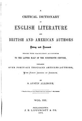 A Critical Dictionary of English Literature PDF