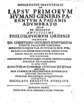 Diss. inaug. de lapsu primorum humani generis parentum a paganis adumbrato