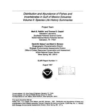NOAA s Estuarine Living Marine Resources Program  Distribution and Abundance of Fishes and Invertebrates in Gulf of Mexico Estuaries Volume 2  Species Life History Summaries  August 1997