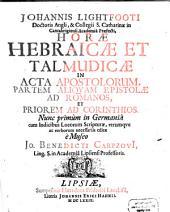Horae Hebraicae ... impensae in Acta Apostolorum ...