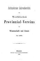 Jahresbericht des Westf  lischen Provinzial Vereins f  r Wissenschaft und Kunst PDF