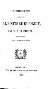 Introduction générale à l'histoire du droit