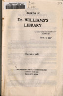 Download Bulletin of Dr  Williams s Library Book