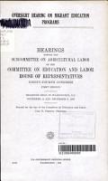 Oversight Hearing on Migrant Education Programs PDF