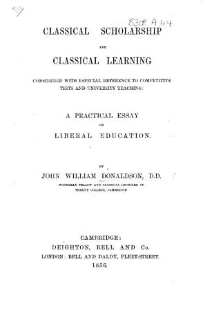Classical Scholarship and Classical Learning PDF
