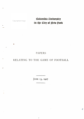 Papers relating to the game of football, June 13, 1907