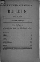 University of Minnesota Bulletin  College of Engineering and the Mechanic Arts PDF