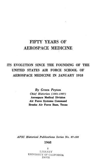 Fifty Years of Aerospace Medicine PDF