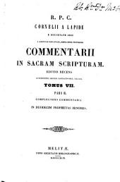 Commentarii in Sacram Scripturam: Volume 7, Part 2