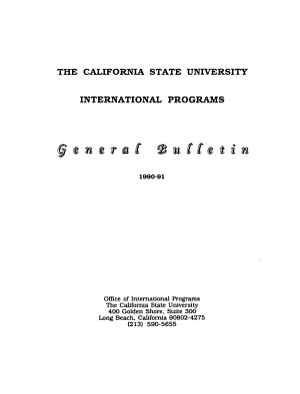International Programs of the California State University PDF