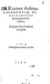 Examen doctrinae Sorbonicae, De Eucharistiae sacramento & sacrificio