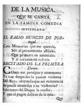 Letra de la musica, que se canta en la famosa comedia intitulada. El Falso Nuncio de Portugal. [By José de Cañizares.]
