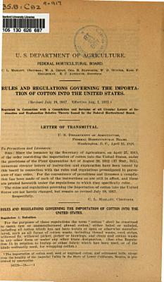 Rules and Regulations Governing the Importation of Cotton Into the United State