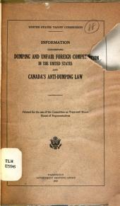 Information Concerning Dumping and Unfair Competition in the United States and Canada's Anti-dumping Law ...