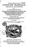Lexicon manuale graeco latinum et latino graecum PDF